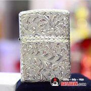 Zippo bạc khối Armor hoa văn 5 mặt