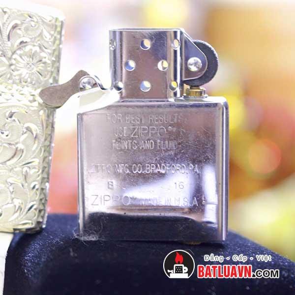 Zippo bạc khối Armor hoa văn 5 mặt 6