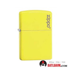 Zippo plain with logo neon yellow matte - 28887zl