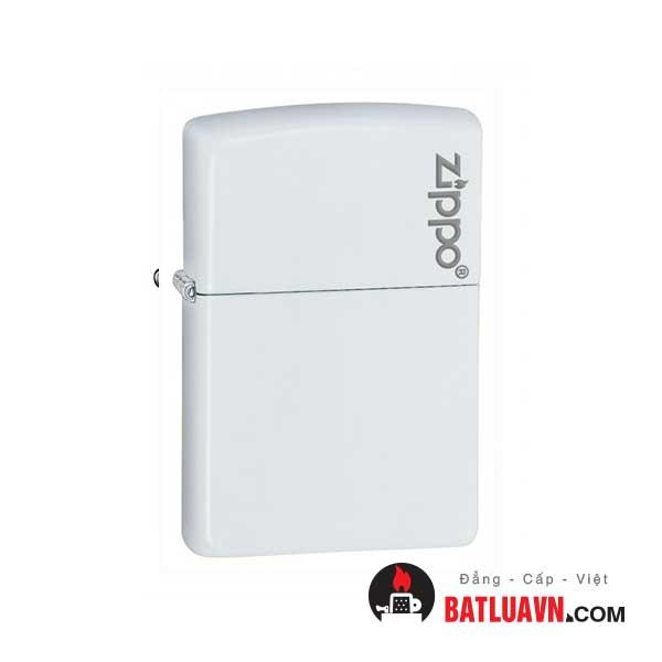 Zippo white matte with logo - 214zl