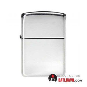 Zippo bạc vỏ dày nền bóng - Armor brushed sterling silver