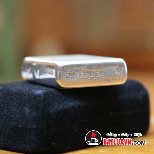 Zippo bạc vỏ dày nền xước - Armor brushed sterling silver 6